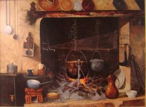 Il focolare  (olio  su  tela  francese  81x60)