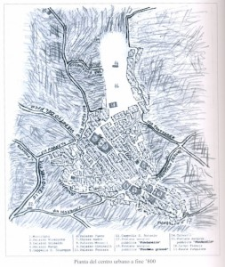 Pianta del centro di fine '800 rilevata dal Dizionario Francavilla sul Sinni di Luigi Viceocnte