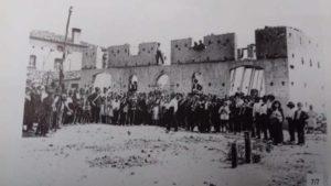 resti del Municipio incendiato 1912